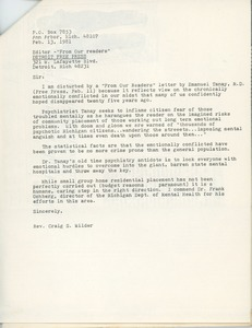 Thumbnail of Letter from Craig S. Wilder to the editor of the Detroit free press