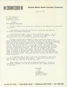 Thumbnail of Letter from Peg McCusker to Judi Chamberlin