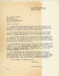 Thumbnail of Letter from Judi Chamberlin to Margaret Manning