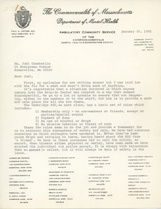 Thumbnail of Letter from Grace Mahoney to Judi Chamberlin