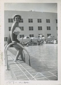 Thumbnail of Bernice Kahn testing the waters of a hotel pool
