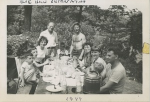 Thumbnail of Bernice Kahn with children Joel, Paul, and Sharon at family cook out