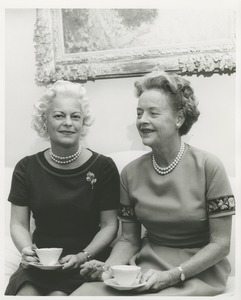 Thumbnail of Margaret Milbank Bogert and an unidentified woman seated with tea cups and saucers