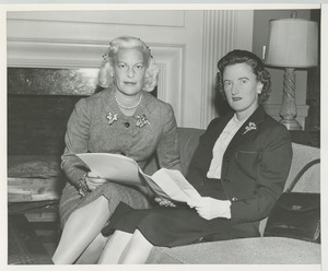 Thumbnail of Margaret Milbank Bogert and Mrs. Robert M.N. Smith reviewing paperwork