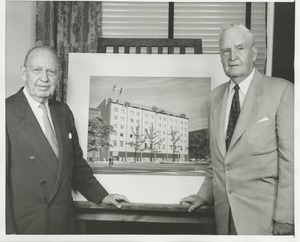 Thumbnail of Jeremiah Milbank Sr. and Bruce Barton posing with an illustration of prospective building plans