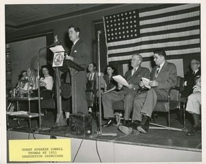 Thumbnail of Guest speaker Lowell Thomas at graduation exercises