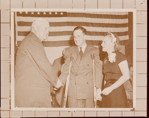 Thumbnail of Herbert Hoover shaking hands with client and Margaret Milbank Bogert at Institute Day