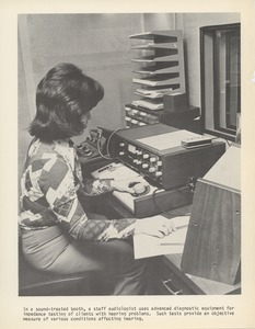 Thumbnail of Staff audiologist using diagnostic equipment at the Speech and Hearing Institute