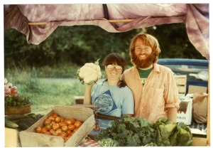 Thumbnail of Grace Gershuny and Stewart Hoyt at a farmers market in St. Johnsbury, Vt.