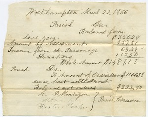 First page of Congregational Church (Westhampton, Mass.): parish records