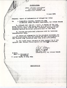 Thumbnail of Report of information of alleged war crime