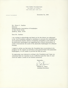 Letter from William H. Nims to Elmer C. Bartels