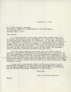 Thumbnail of Letter from Elmer C. Bartels to Harold Russell