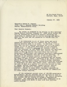 Thumbnail of Letter from Mary T. Bartels to Edward M. Kennedy