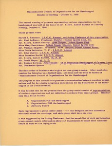 Thumbnail of Massachusetts Council of Organizations of the Handicapped minutes of meeting