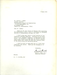 Thumbnail of Letter from Merle W. Mudd to Harold S. Remmes