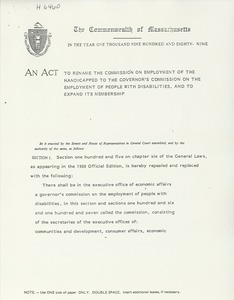 Thumbnail of An act to rename the commission on employment of the handicapped to the governor's commission on the employment of people with disabilities, and to expand its membership