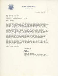 Thumbnail of Letter from Elmer C. Bartels to Alan A. Reich