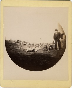 Thumbnail of Unidentified man and dogs
