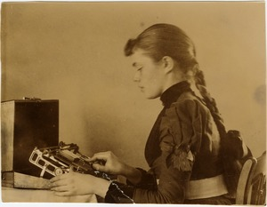 Thumbnail of Abby Francis Blanchard operating a card punching machine
