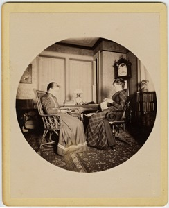 Thumbnail of Abby F. Blanchard and Annie Blanchard (l. to r.) seated in the parlor