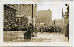 Thumbnail of Aftermath of the great Hartford Flood National Guardsmen and crowd (corner of Morgan and Market Streets, in front          of Italian American Grocery)