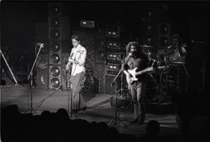 Thumbnail of Grateful Dead concert at Springfield Civic Center: band in performance: Bob             Weir, Jerry Garcia and Bill Kreutzmann (l. to r.)