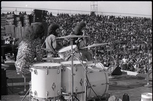 Thumbnail of Hollywood Speedway Rock Festival: Wet Willie in performance, (l. to r.) Lewis             Ross (drums), Rick Hirsch (guitar), and Jimmy Hall (harmonica)