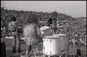 Thumbnail of Hollywood Speedway Rock Festival: Wet Willie in performance, Lewis Ross (drums),         Rick Hirsch (guitar), Jimmy Hall (vocals)