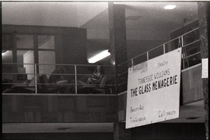 Thumbnail of View of the mezzanine in the UMass Student Union with poster advertising a             performance of the Glass Menagerie at Bartlett Hall