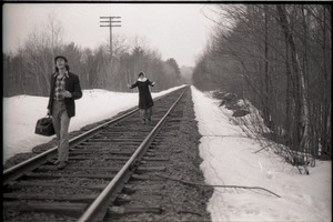Thumbnail of Frye Boots advertising photos: Rene Brohpy and unidentified commune member on train tracks