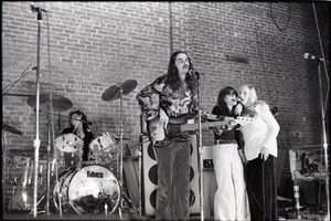 Thumbnail of Wedding of Jim and Anne Baker: Rapunzel playing at wedding reception: Tommy             Snyder (drums), John Sullivan (bass), Antonie Krol Hincks and Nancy Cole (backup             singers)