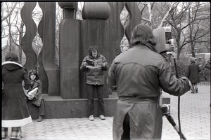 Thumbnail of Cameraman preparing to film Richard Safft during interview by Channel 5 news