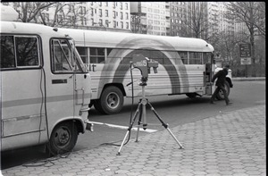 Thumbnail of Camera set up in front of Free Spirit Press bus during interview by Channel 5 news