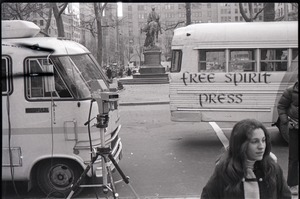 Thumbnail of Free Spirit Press bus parked during interview by Channel 5 news