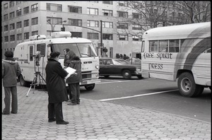 Thumbnail of Free Spirit Press bus and Channel 5 news van parked during interview by Channel 5 news