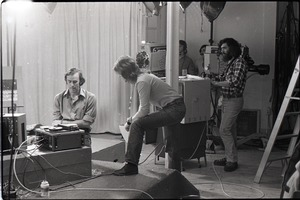 Thumbnail of Peter Harris (at monitor) with camera crew and technicians for the WGBY program Open Door (unidentified crew             member in foreground)