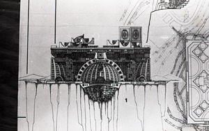 Thumbnail of Architectural sketch of fantastic structure by Paolo Soleri