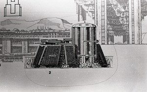 Thumbnail of Architectural sketch of imagined city by Paolo Soleri
