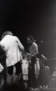 Thumbnail of Miles Davis in performance: Dave Liebman (back to camera) and Miles Davis