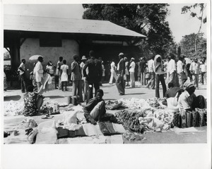 Thumbnail of World trade and communications as crucial links in the development chain General view of an outdoor market in the village of Ebougsi