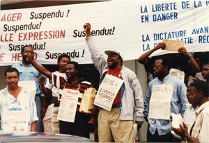 Thumbnail of Directors of independent newspapers protesting demonstration