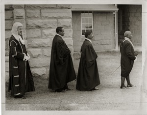 Thumbnail of Procession with two African men in legal robes: on verso 'Mr. speaker' and             'Mokhehle'