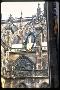 Thumbnail of Strasbourg Cathedral: view of exterior stonework, buttresses, and windows