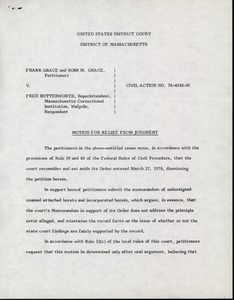 Thumbnail of Motion for relief from judgement