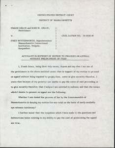 Thumbnail of Grace and Grace v. Butterworth, 1978: affidavit in support of motion to proceed on appeal without prepayment of fees
