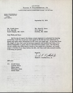 Thumbnail of Letter from Daniel F. Featherston to Frank 'Parky' Grace and Ross Grace