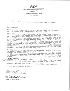 Thumbnail of Letter from the Mississippi Community Foundation to participants in Mississippi Homecoming '94