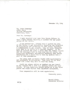 Thumbnail of Letter from Gerald Klein to Peter Cummings
