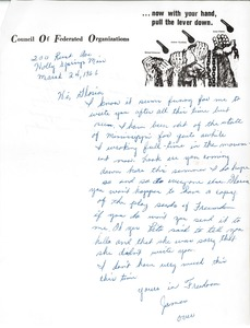 Thumbnail of Letter from James Stevenson to Gloria Xifaras Clark